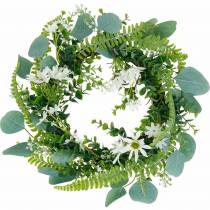 Kunstig eukalyptuskrans med bregne, kappekogler og jasmin, dørkrans, dekorativ krans, borddekoration