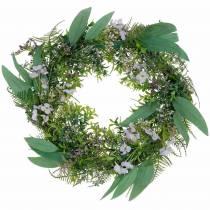 Dekorativ krans eukalyptus, bregne, blomster Kunstig krans Bordkrans