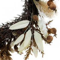 Dekorativ krans kunstigt tørt græs og frugt dørkrans Ø50cm
