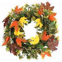 Krans af efterårsblade kunstigt grønne, gule, orange Ø45cm