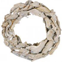 Kransrødder og grene af træ Hvidvasket dekorativ krans Ø40cm H9cm