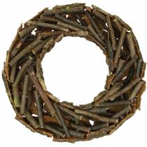 Dekorativ krans med grene og bark moset Ø40cm