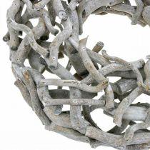 Dekorativ krans, trækrans, kalket grå, proptrækker pil Ø40cm
