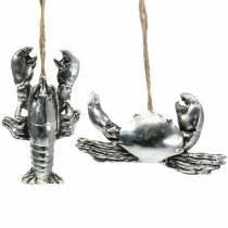 Deco kræft og hummer til at hænge antik sølv 9cm 2stk