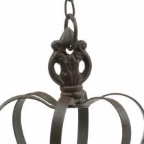 Metal krone til at hænge med kroge rustbrun Ø11cm H17cm