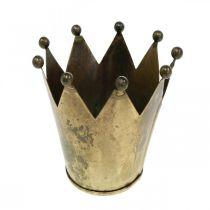 Kronelysholder metal antik messing look Ø12,5cm H11,5cm