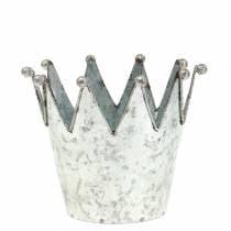 Dekorativ potkrone metal sølv Ø13.5cm H11.5cm 2stk