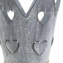 Zinkpotte kronehjerter vasket gråt sæt Ø12 / 14cm