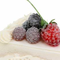 Pie stykke hindbær kunstige 10 cm