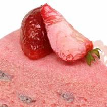 Pie stykke jordbær kunstige 10 cm