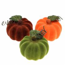 Mini græskar flokket orange, grøn, rød Ø9cm 6stk