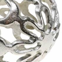 Dekorativ kugleåbning i metal sølv Ø15cm