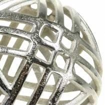 Dekorativ kugleåbning i metal sølv Ø20cm