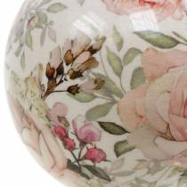 Dekorativ kuglerose lyserød fajance Ø9cm