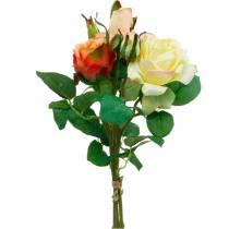 Kunstige blomster, buket roser, borddekorationer, silkeblomster, kunstige roser gul-orange