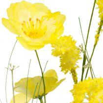 Kunstig buket gul, valmue og busk ranunkel i en flok, silkeblomster, foråret dekoration L45cm