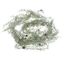Lark kransegrøn / iset med kegler 180cm