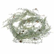 Lærke krans grøn / iset med kegler 180cm