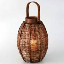 Flettet lanterne, stearinlys dekoration, træ lanterne med håndtag Ø25cm H34,5cm