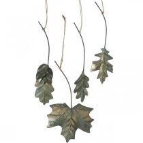 Efterlader metal til at hænge antikgrå efterårsblade 7,5-10 cm 4stk