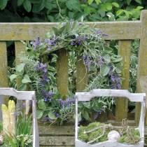 Middelhavs lavendel krans Ø50cm, kunstig blomsterkrans med lavendel og rosmarin