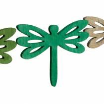 Dragonflies at sprede, sommerdekoration lavet af træ, borddekoration grøn 48stk
