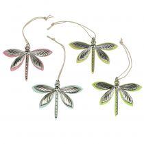 Dragonflies til hængende, assorterede farver 7cm x 5.5cm 28pcs