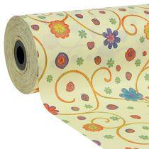 Manchetpapir 25cm 100m creme med blomster
