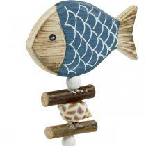 Maritime dekorative propper, fisk og skaller på pinden, marine dekorationer, træfisk 6stk