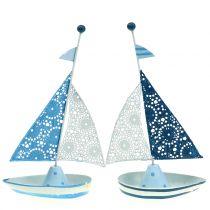Dekorativ sejlbåd lavet af metalblå, hvid 12,5 cm x 20,5 cm 2stk