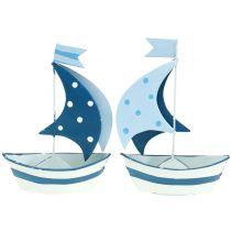 Dekorativ sejlbåd lavet af metalblå, hvid 9,5 cm x 13 cm 2stk