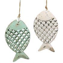 Dekorativ hængende fisk grøn / hvid 17cm 2stk
