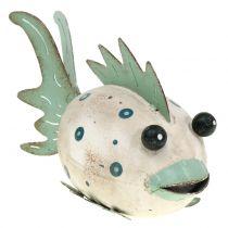 Dekorativ fisk lavet af metalgrøn, hvid 18cm