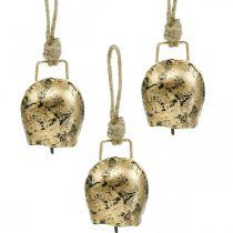Klokker til at hænge, mini cowbells, country house, metal bells golden, antique look 7 × 5cm 12stk