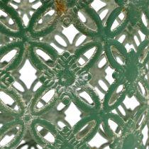 Metalkurv oval med håndtag 25 cm x 16,5 cm H21cm grøn