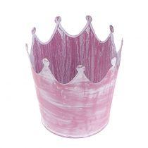Metal krone lyserød vasket hvid Ø10cm H9cm 6stk