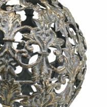 Kugle at hænge med ornamenter antikt udseende gyldent metal Ø12cm