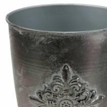 Dekorativ metalkugle med ornament sølvgrå Ø16,5cm H31cm