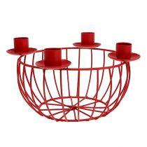 Metalskål med 4 lysestager rød Ø22cm