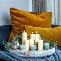 Metalskål med håndtag, planter, dekorativ bakke, antikt look, hvidvasket L51 / 40,5 cm, sæt med 2