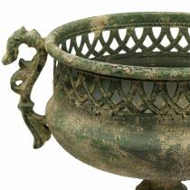 Dekorativ kop antik look metal mosegrøn Ø19cm H35,5cm