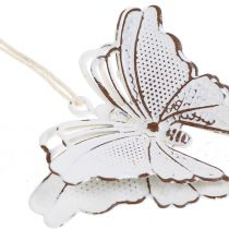 Metal sommerfugl til hængende hvid 7cm 6stk