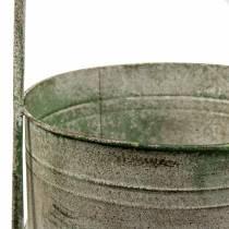 Metalstativ med planteskåle grå, grøn H68cm