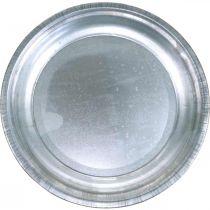 Dekorativ plade, arrangementunderlag, metalplade sølv, borddekoration Ø26cm