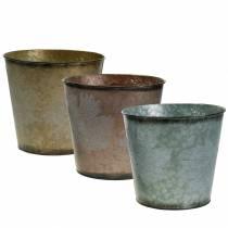 Dekorativ plantepotte med blade zink metallisk grå, orange, brun Ø26cmH22cm 3stk