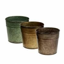 Plante potte orange, brun, grøn Ø13cm H12.5cm sæt med 3
