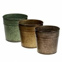 Plante potte orange, brun, grøn Ø15cm H14cm sæt med 3