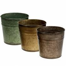 Plante potte orange, brun, grøn Ø17cm H16.5cm sæt med 3