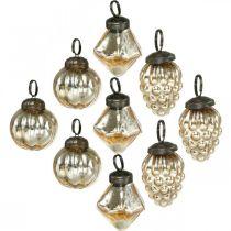 Mini-trækugler, diamant / kugle / kegle, træhængninger blandet antik look Ø3–3,5cm H4,5–5,5cm 9stk.