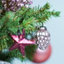 Mini juletræspynt blandet 4,5 cm sølv, lyserød assorteret 10stk